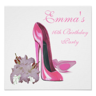 16th Födelsedagsfestaffischen med den rosa Poster