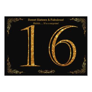 16th sweet sixteen, födelsedagsfest, svart glitter 12,7 x 17,8 cm inbjudningskort