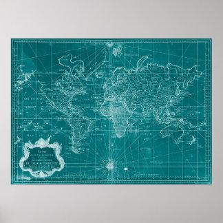 1778) turkos & vit för världskarta ( poster
