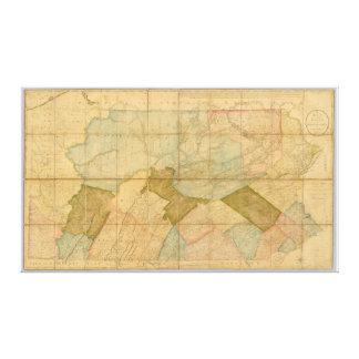 1792 påstå av den Pennsylvania kartan av läs- Howe Canvastryck