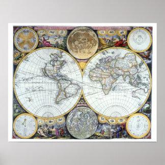 17th Antik världskarta för århundrade av den John Poster