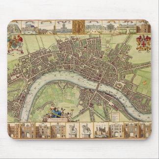 17th århundradekarta av London (W.Hollar) Mousepad Musmatta