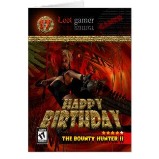 17th Födelsedagkort för Gamers skottpengarjägaren Hälsningskort