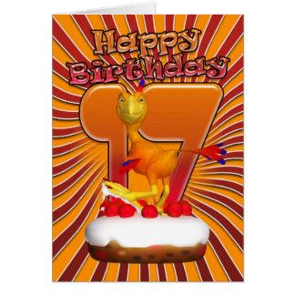 17th Födelsedagkort - tecknad Phoenix Hälsningskort