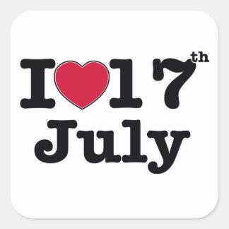 17th juli min dagfödelsedag fyrkantigt klistermärke