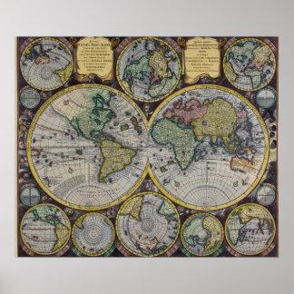 17th Karta för gammal värld för århundrade - antik Poster