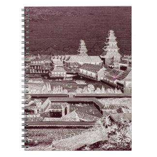 1800s för gravyr för Edo slottTokyo Japan vintage Anteckningsbok
