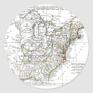 1806 karta - Les Etats Unis d'Amrique Runt Klistermärke