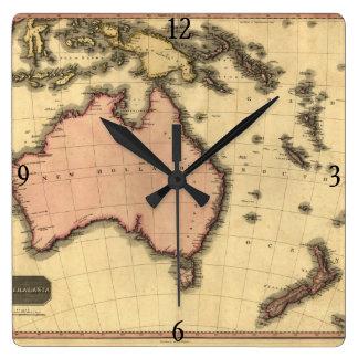 1818 Australasia karta - Australien som är Fyrkantig Klocka