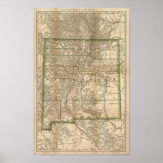 1879 antika stångkarta av nytt - mexico poster