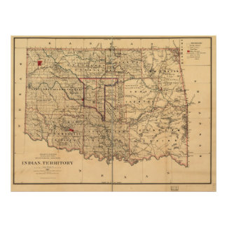 1887 indiska territoriumkartaOklahoma territorium Poster