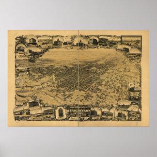 1895 Stockton, CA-fågelöga beskådar den panorama-  Poster