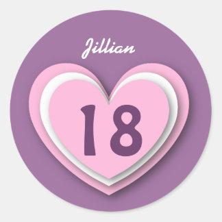 18 i lagra hjärtor V18R för årig födelsedag Runt Klistermärke