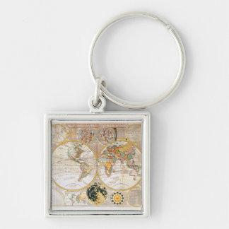 18th Århundradekarta Fyrkantig Silverfärgad Nyckelring