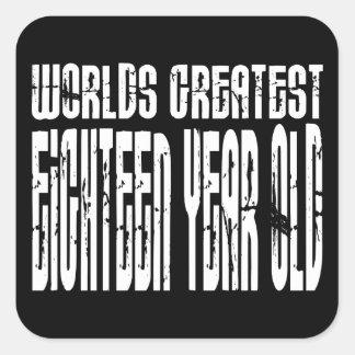 18th En arton för världar för födelsedag 18 årig Fyrkantigt Klistermärke