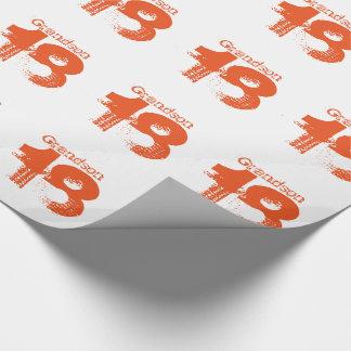 18th födelsedag för en sonson, orange på white. presentpapper