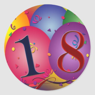 18th födelsedag för lycklig! runt klistermärke