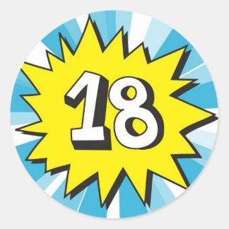 18th födelsedag runt klistermärke