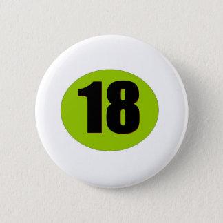 18th Födelsedag Standard Knapp Rund 5.7 Cm