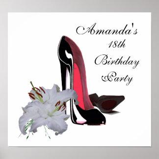 18th Födelsedagen den svart stiletten skor och Poster