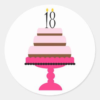 18th födelsedagklistermärkear för rosa Tiered Runt Klistermärke