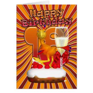 18th Födelsedagkort - tecknad Phoenix Hälsningskort