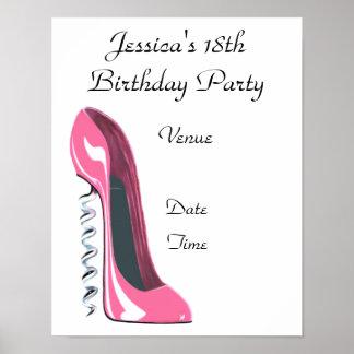 18th Födelsedagsfestaffisch med rosa korkskruvSti Poster