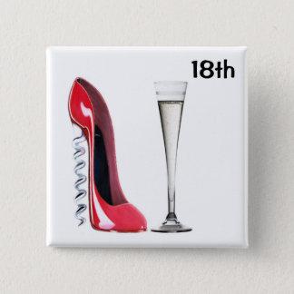 18th Födelsedagstilett- och champagneemblem Standard Kanpp Fyrkantig 5.1 Cm
