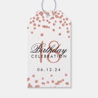 18th För Fauxglitter för födelsedag rosa guld- Presentetikett