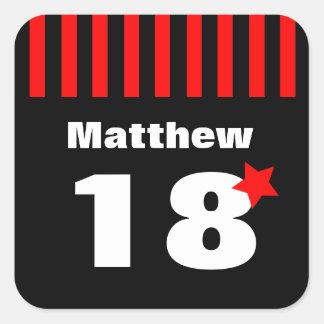 18th Röda svartrandar och stjärna R11Z för Fyrkantigt Klistermärke