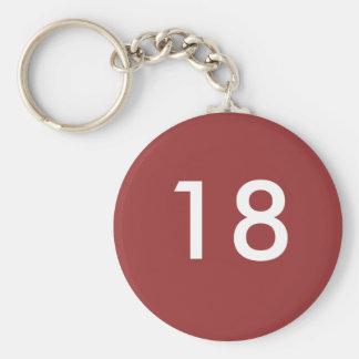 18th rund nyckelring