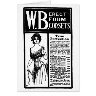 1902 korsetterat tidningsannonseringkort hälsningskort