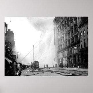 1909 avfyrar 14th st New York affischen Poster