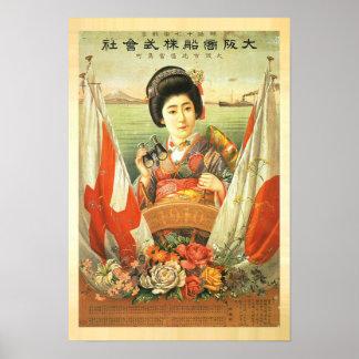 1910 japanska vintage affisch poster