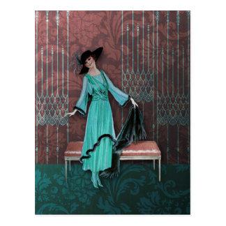 1913 Luxe: Vintagemode i Aqua och steg Vykort