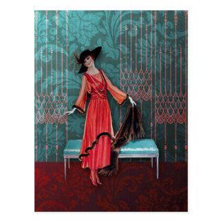 1913 Luxe: Vintagemode i rött och turkos Vykort