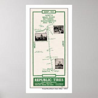 1914 karta, Galt till Sacramento via älgdunge Poster
