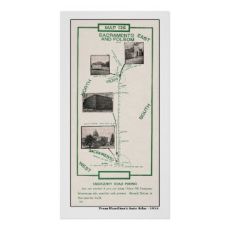 1914 karta, Sacramento till Folsom Poster