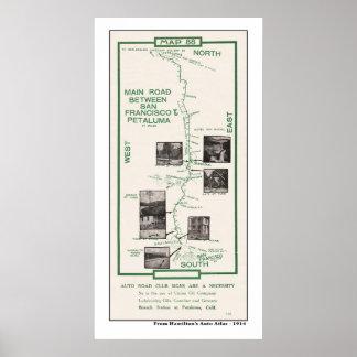 1914 karta, SF till Petaluma Poster