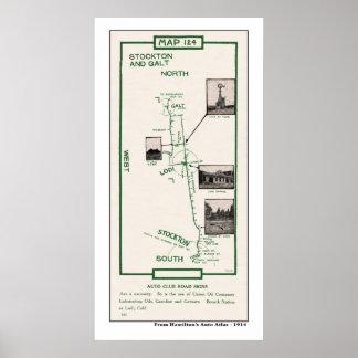1914 karta, Stockton till Galt via Lodi Poster