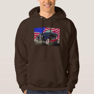 1938 Cadillac Lasalle och amerikanska flaggan Sweatshirt