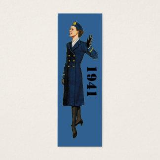 1941 militära mode för kvinnor litet visitkort