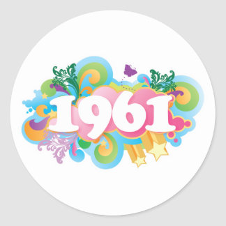 1961 färgrika klistermärkegåva runt klistermärke