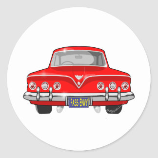 1961 röda Chevrolet Runt Klistermärke