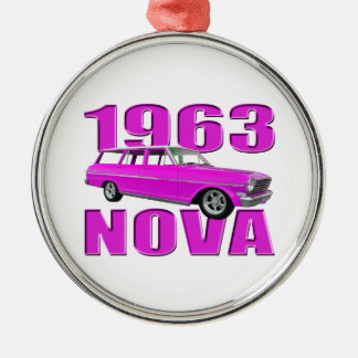1963 chevy för longroofvagn för nova II rosor för Julgransprydnad Metall