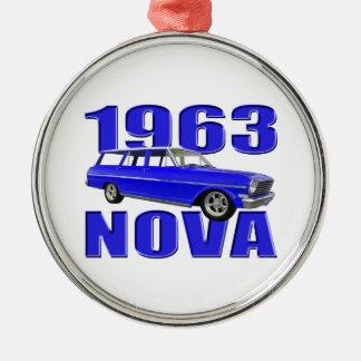 1963 chevy för vagnlongroof för nova II blått Julgransprydnad Metall