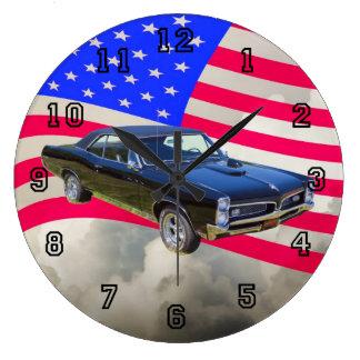 1967 Pontiac GTO och amerikanska flaggan Stor Klocka