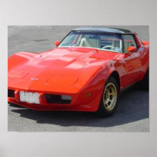 1979 röda Corvette klassiker Posters