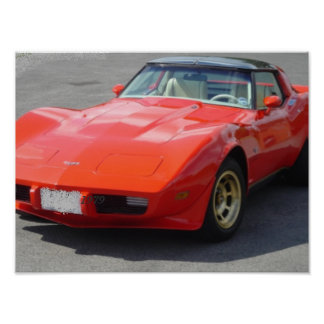 1979 röda Corvette klassiker Poster