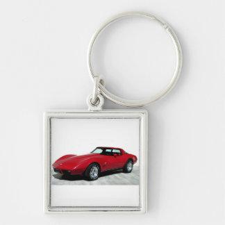 1979 röda klassikerbil fyrkantig silverfärgad nyckelring